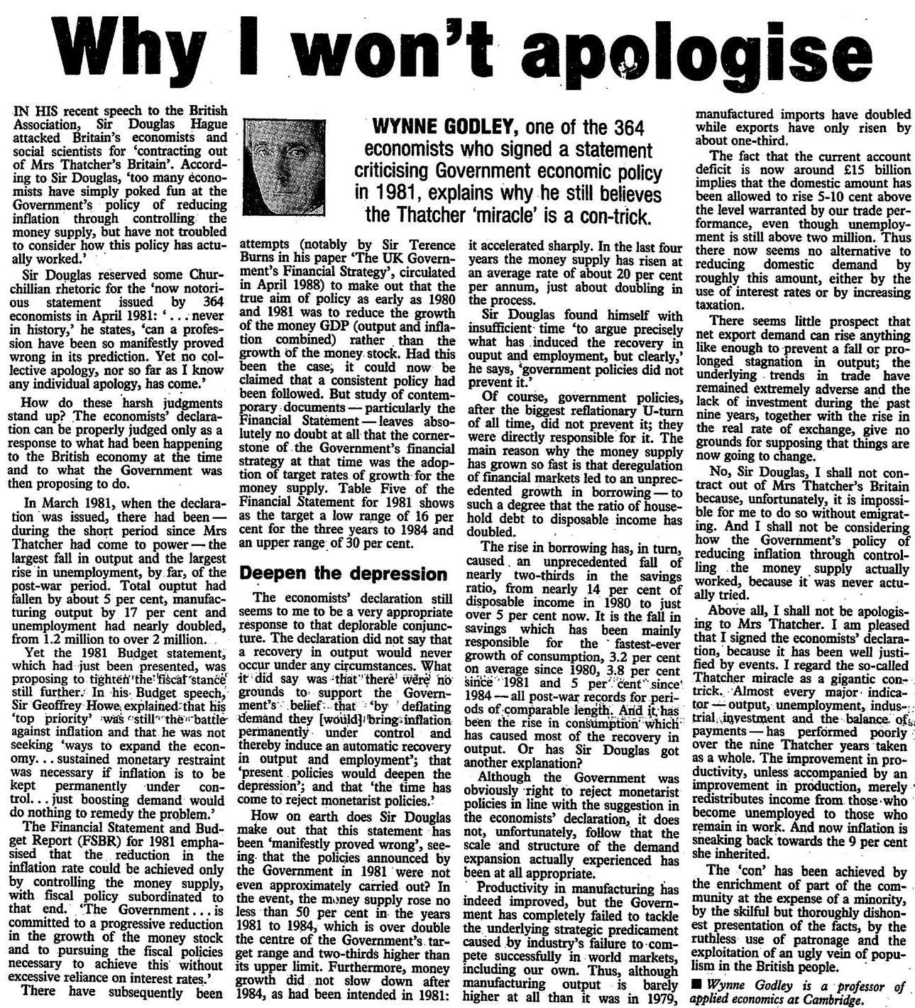Wynne Godley - Why I Won't Apologize